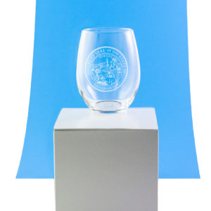 Stemless Wine Glass with Great Seal of California