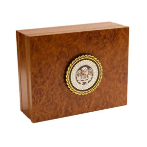 burlwood keepsake box with assembly seal