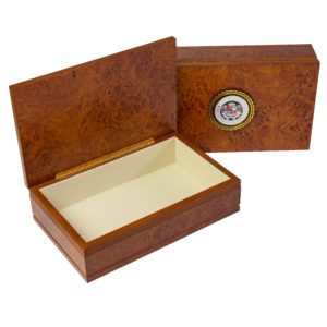 large burlwood keepsake box with assembly seal